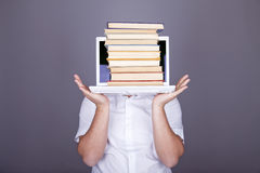 Surprise men with books and white notebook. Stock Images