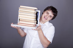 Surprise men with books and white notebook. Stock Photography