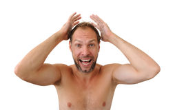 Surprise men isolated on the white background Stock Photography