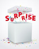 Surprise message box with confetti Stock Photos