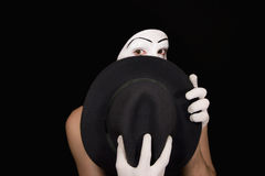 Surprise mime with a hat Stock Photography