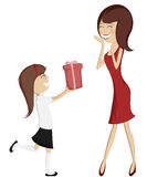 Surprise Mom (colorful and detailed art with a brunette daughter and a mother in red)!. Lovely cartoon-style vector illustration Royalty Free Stock Photo