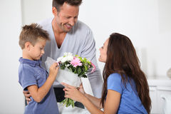 Surprise on mother's birthday Royalty Free Stock Images