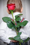 Surprise for mummy. The little boy has prepared a surprise for mum, the flower a red rose and holds it behind the back Stock Image