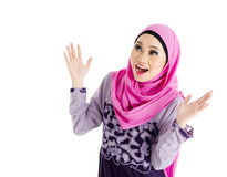 Surprise. Muslim woman with surprise expression royalty free stock images