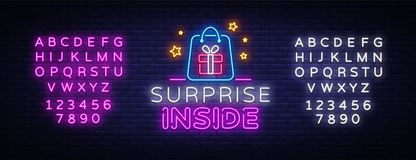 Surprise neon sign vector design template. Surprise Inside neon light banner design element colorful modern design trend. Night bright advertising, bright sign stock illustration