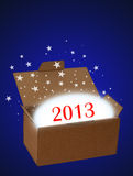 Surprise new year 2013 on blue Royalty Free Stock Photos