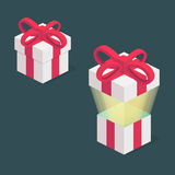 Surprise. Open and closed gift box. present Royalty Free Stock Photography