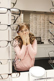 Surprise at the optometrist Royalty Free Stock Photography