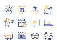 Surprise package, Creativity and Fireworks icons set. Hotel, Scuba diving and Flight sale signs. Vector. Surprise package, Creativity and Fireworks icons simple royalty free illustration