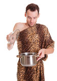 Surprise in a pan for wild man Stock Photo
