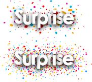 Surprise paper banners. Surprise paper banners with color drops, French. Vector illustration stock illustration