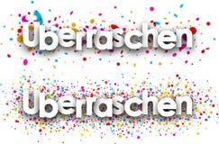 Surprise paper banners. Surprise paper banners with color drops, German. Vector illustration stock illustration