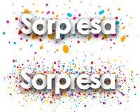 Surprise paper banners. Surprise paper banners with color drops, Spanish. Vector illustration royalty free illustration