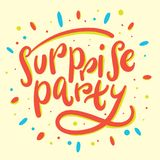 Surprise party hand drawn vector lettering isolated. On white background vector illustration