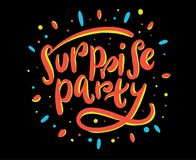 Surprise party hand drawn vector lettering. Surprise party hand drawn vector lettering isolated on white background stock illustration
