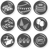 Surprise party monochrome button set Stock Images