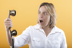 Surprise on the phone Royalty Free Stock Photos