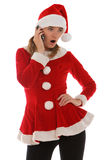 Surprise phone call from Santa. Receiving a surprise phone call from Santa stock photography