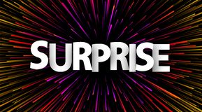 Surprise poster with colorful spectrum firework. Happy emotion. Vector background vector illustration