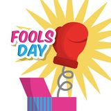 Surprise prank box with glove fools day. Vector illustration Stock Images