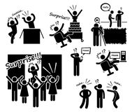 Surprise and Prank Cliparts Icons. A set of human pictogram representing people making prank and surprises. This include jumping out of the box to scare people Stock Photography