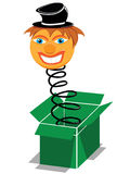 Surprise present box. With smiling clown Stock Images