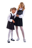 Surprise Schoolgirls Duo. Stock Photo