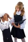 Surprise Schoolgirls Duo. Royalty Free Stock Image