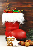 Surprise on St. Nicholas. Decorated with candy and little surprises Stockings Royalty Free Stock Photos