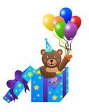 Surprise Teddy Bear. In a gift box holding balloons Stock Photography