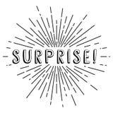 surprise text sunrays retro theme Stock Image