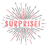 surprise text sunrays retro theme Royalty Free Stock Images