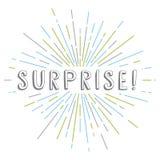 surprise text sunrays retro theme Stock Photo