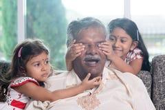 Surprise to grandpa Stock Photo