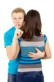 Surprise, un type et une fille Photo libre de droits