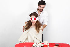 Surprise on valentine's day Royalty Free Stock Photography