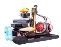 Surprise woman beauty cosmetic tools and fishing tackles Stock Images