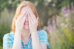 Surprise - Woman Covering Eyes Stock Images