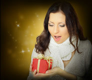 Surprise woman with gift. Surprise woman with Christmas gift Stock Photos