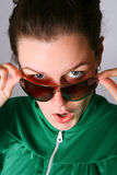 Surprise woman in sunglasses Stock Image