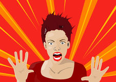 Surprised. Hand drawing vector illustration of a women with surprised expression vector illustration