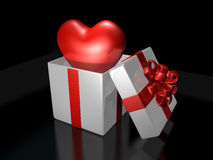 Surprised 3d pop up heart in the gift box Royalty Free Stock Photography