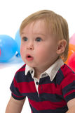 Surprised. A surprised baby boy with blue eyes stock image
