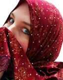 Surprised. A muslim woman wearing a headscarf shows a suprised expression with her eyes Royalty Free Stock Photos