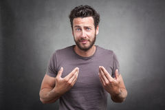 Surprised adult asking you mean me? Royalty Free Stock Photography