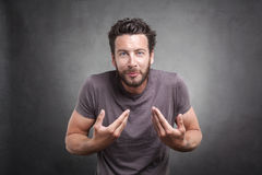 Surprised adult asking you mean me? Royalty Free Stock Photos