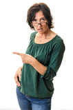 Surprised adult woman pointing Royalty Free Stock Photo