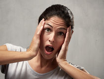 Surprised afraid woman Royalty Free Stock Images