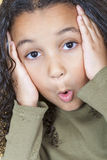 Surprised African American Girl Child. A beautiful mixed race African American little girl female child looking surprised or shocked Stock Photo